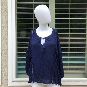 A.N.A. Dark Blue Front Tie Blouse Sz Large